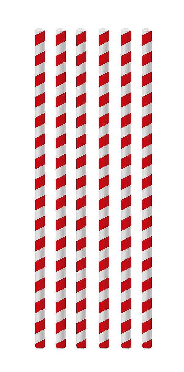 Canudo de Papel Listras Vermelho - 20 unidades - Cromus - Rizzo Festas