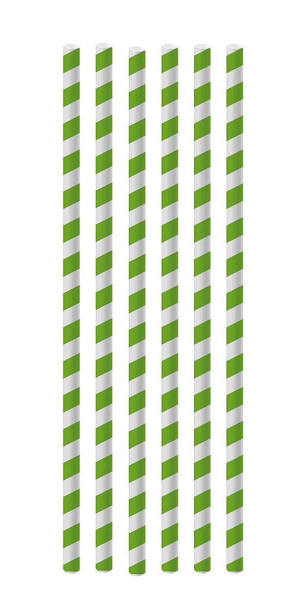 Canudo de Papel Listras Verde - 20 unidades - Cromus - Rizzo Festas