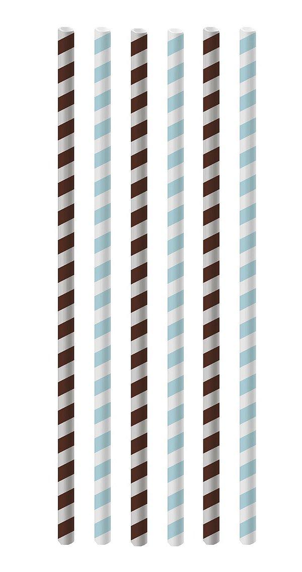 Canudo de Papel Listras Azul e Marrom - 20 unidades - Cromus - Rizzo Festas