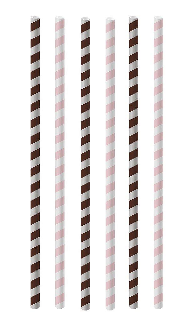Canudo de Papel Listras Rosa e Marrom - 20 unidades - Cromus - Rizzo Festas
