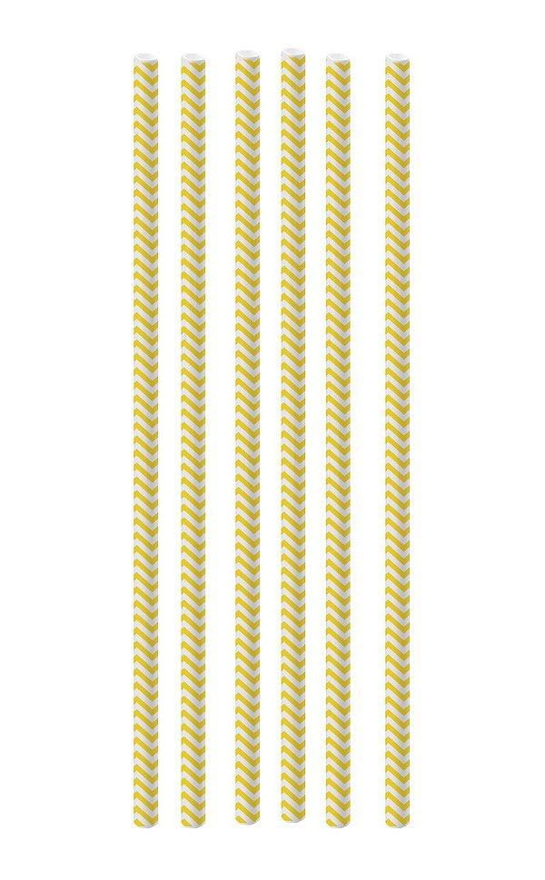 Canudo de Papel Missoni Amarelo - 20 unidades - Cromus - Rizzo Festas