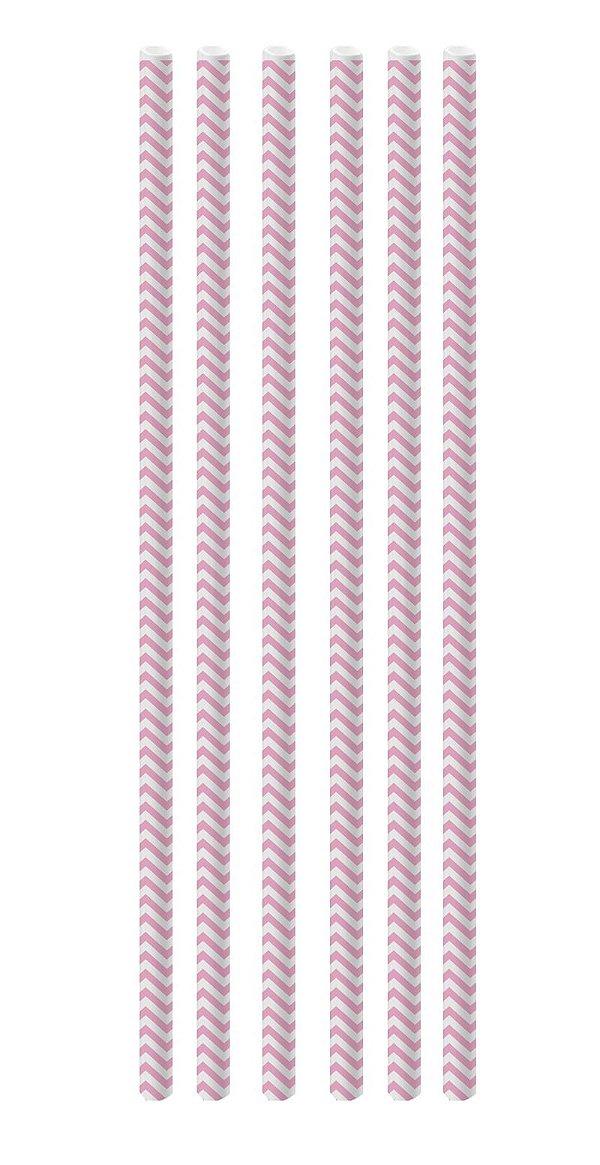 Canudo de Papel Missoni Rosa - 20 unidades - Cromus - Rizzo Festas