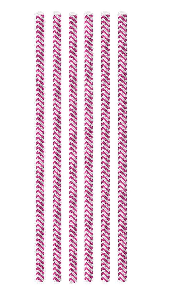 Canudo de Papel Missoni Pink - 20 unidades - Cromus - Rizzo Festas