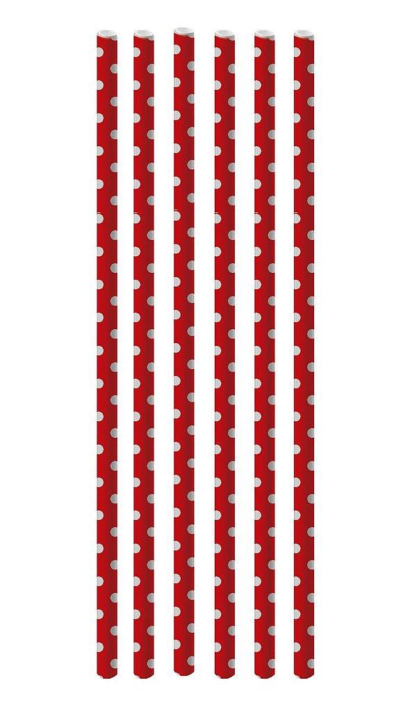 Canudo de Papel Poá Vermelho e Branco - 20 unidades - Cromus - Rizzo Festas