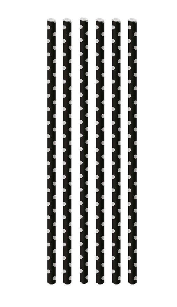 Canudo de Papel Poá Preto e Branco - 20 unidades - Cromus - Rizzo Festas