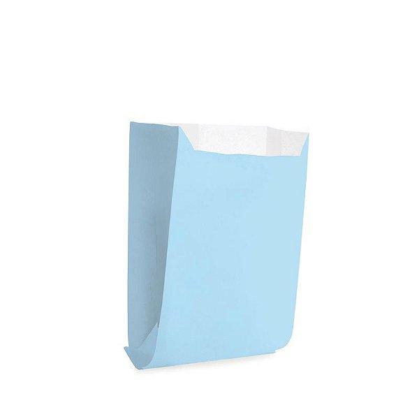 Saquinho de Papel para Mini Lanche P 10x8x4cm - Liso Azul - 50 unidades - Cromus - Rizzo Festas