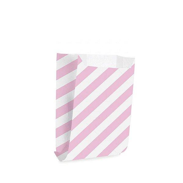 Saquinho de Papel para Mini Lanche - Listras Rosa - 50 unidades - Cromus - Rizzo Festas
