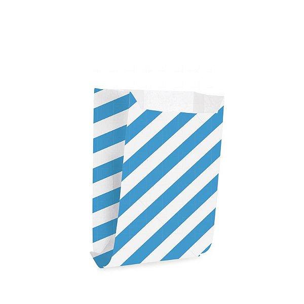Saquinho de Papel para Mini Lanche - Listras Azul - 50 unidades - Cromus - Rizzo Festas