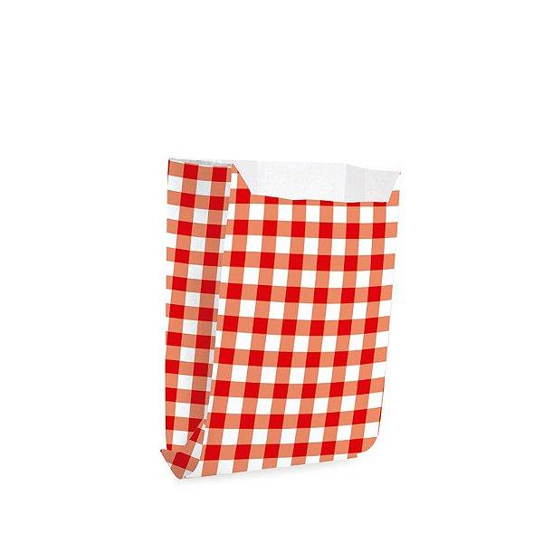 Saquinho de Papel para Mini Lanche - Xadrez Vermelho - 50 unidades - Cromus - Rizzo Festas