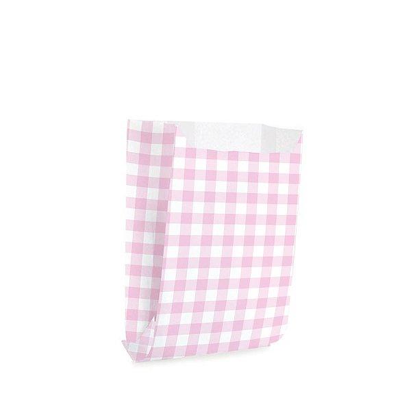 Saquinho de Papel para Mini Lanche - Xadrez Rosa - 50 unidades - Cromus - Rizzo Festas