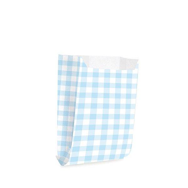 Saquinho de Papel para Mini Lanche P 10x8x4cm - Xadrez Azul Bebê - 50 unidades - Cromus - Rizzo Festas