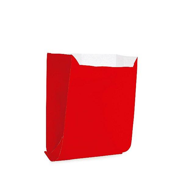 Saquinho de Papel para Mini Pizza e Hambúrguer M 10x10,5x4cm - Liso Vermelho - 50 unidades - Cromus - Rizzo Festas