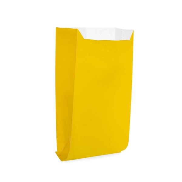 Saquinho de Papel para Pipoca e Hot Dog 14x8x4cm - Liso Amarelo - 50 unidades - Cromus - Rizzo Festas