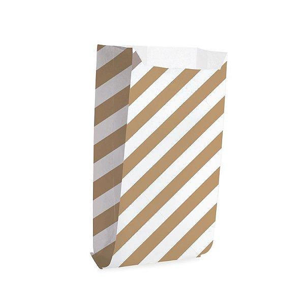 Saquinho de Papel para Pipoca e Hot Dog G 14x8x4cm - Listras Pardo - 50 unidades - Cromus - Rizzo Festas