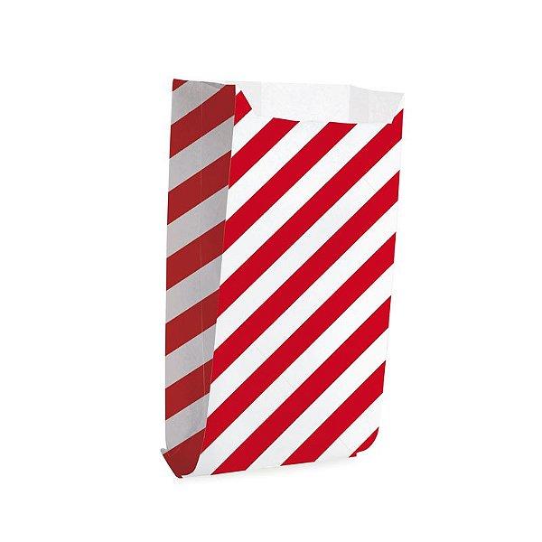 Saquinho de Papel para Pipoca - Listras Vermelho - 50 unidades - Cromus - Rizzo Festas