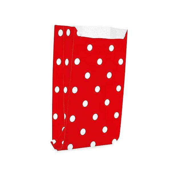 Saquinho de Papel para Pipoca - Poá Vermelho - 50 unidades - Cromus - Rizzo Festas