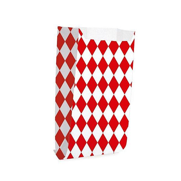Saquinho de Papel para Pipoca - Losango Vermelho - 50 unidades - Cromus - Rizzo Festas