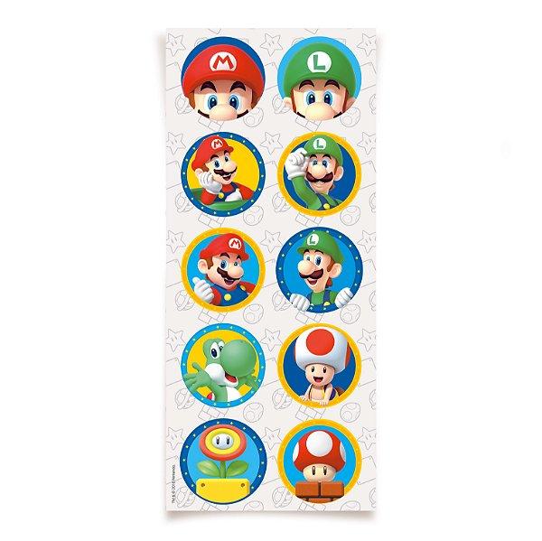 Adesivo Redondo para Lembrancinha Festa Mario - 30 unidades - Cromus - Rizzo Festas