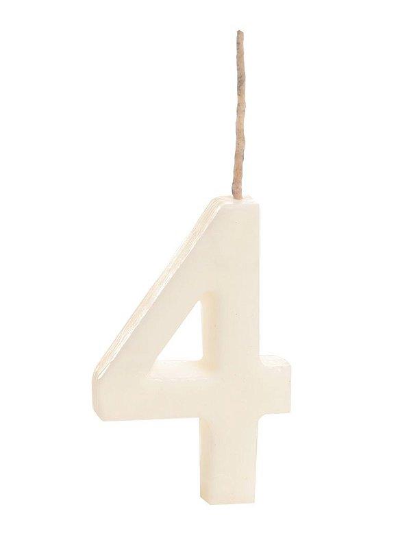 Vela de Aniversário nº4  Branco - 01 unidade - Cromus - Rizzo Festas