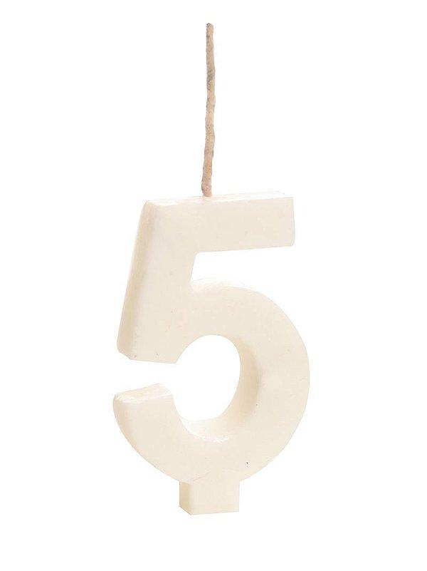 Vela de Aniversário nº5  Branco - 01 unidade - Cromus - Rizzo Festas