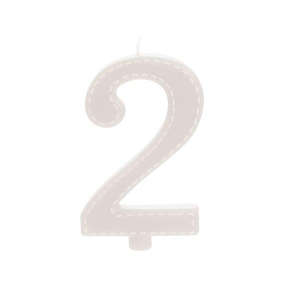 Vela de Aniversário nº2  Tracejada Branco G - 01 unidade - Cromus - Rizzo Festas