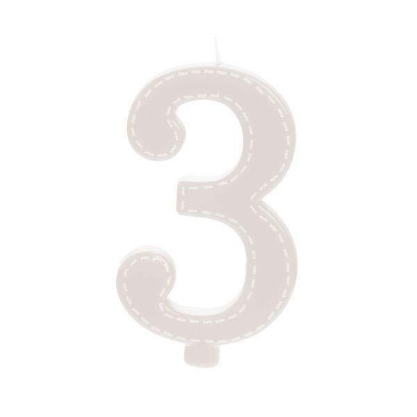 Vela de Aniversário nº3  Tracejada Branco G - 01 unidade - Cromus - Rizzo Festas