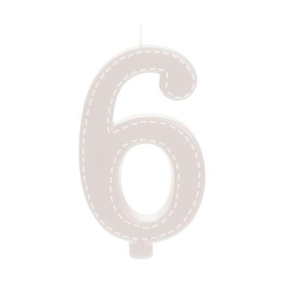 Vela de Aniversário nº6  Tracejada Branco G - 01 unidade - Cromus - Rizzo Festas