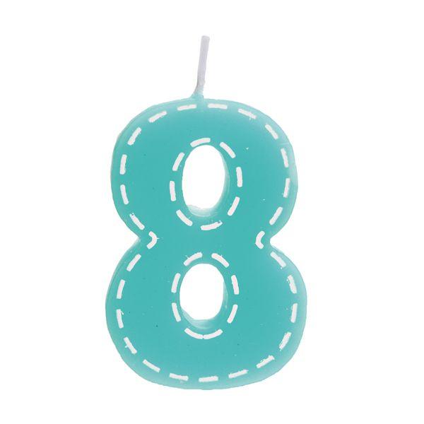 Vela de Aniversário nº8  Tracejada Turquesa P - 01 unidade - Cromus - Rizzo Festas