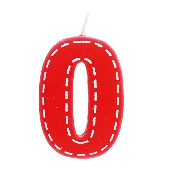 Vela de Aniversário nº0  Tracejada Vermelho P - 01 unidade - Cromus - Rizzo Festas