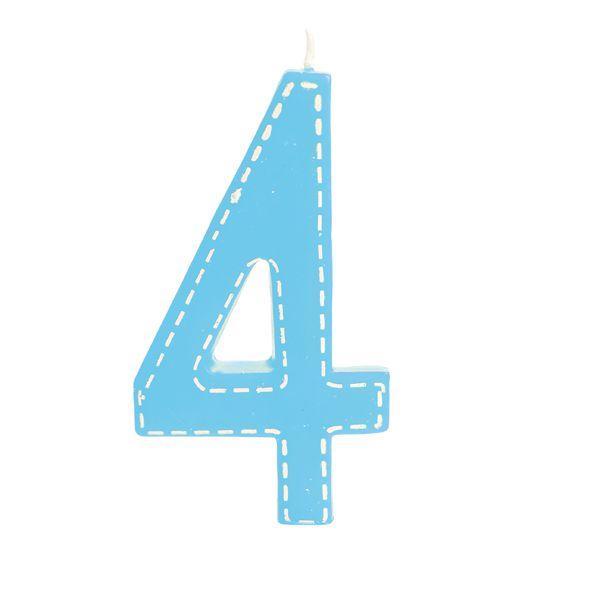 Vela de Aniversário nº4  Tracejada Azul G - 01 unidade - Cromus - Rizzo Festas
