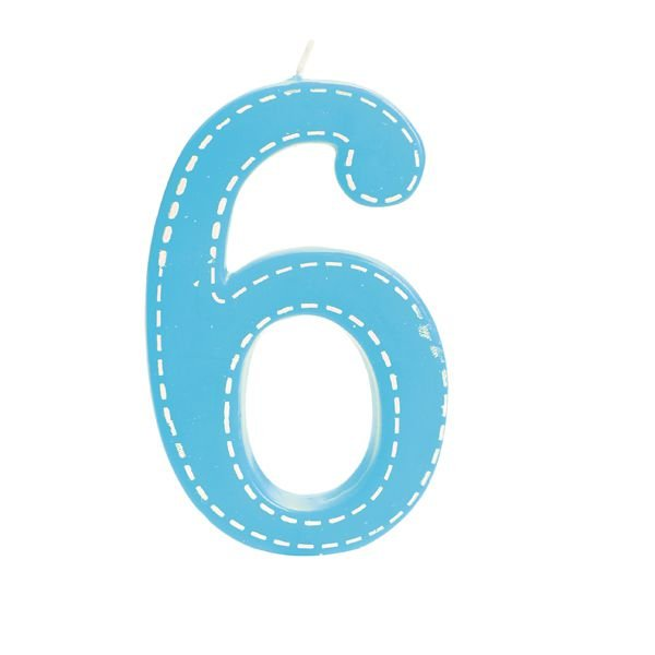 Vela de Aniversário nº6  Tracejada Azul G - 01 unidade - Cromus - Rizzo Festas
