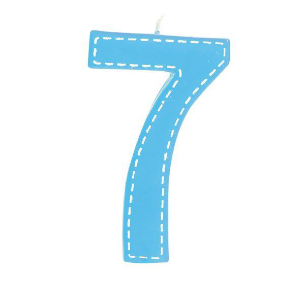 Vela de Aniversário nº7  Tracejada Azul G - 01 unidade - Cromus - Rizzo Festas