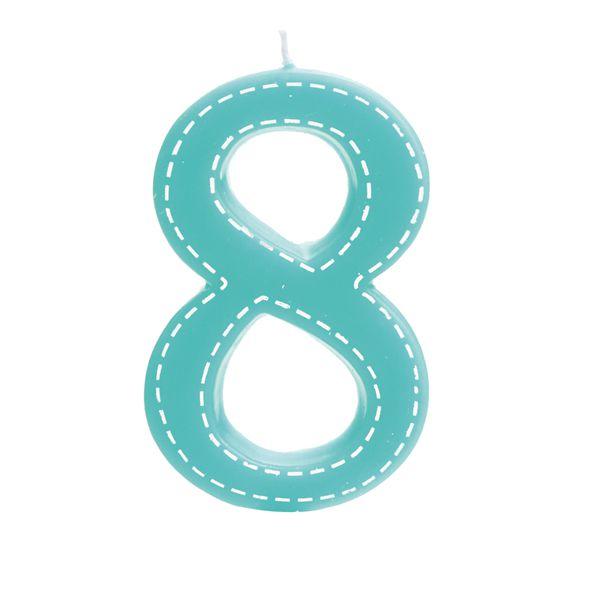 Vela de Aniversário nº8  Tracejada Turquesa G - 01 unidade - Cromus - Rizzo Festas
