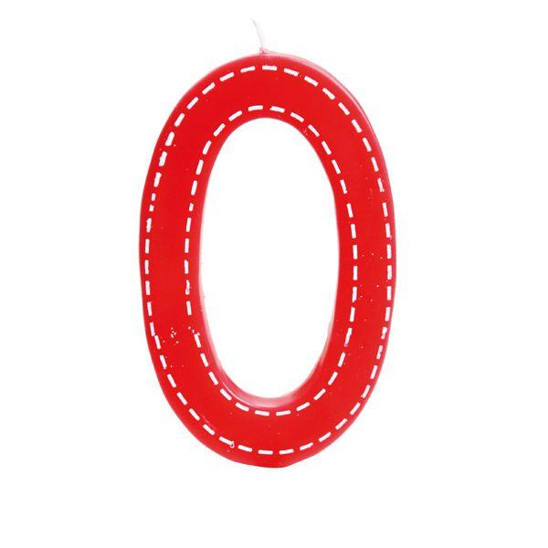 Vela de Aniversário nº0  Tracejada Vermelho G - 01 unidade - Cromus - Rizzo Festas