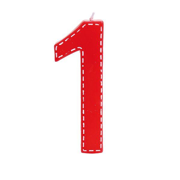 Vela de Aniversário nº1  Tracejada Vermelho G - 01 unidade - Cromus - Rizzo Festas