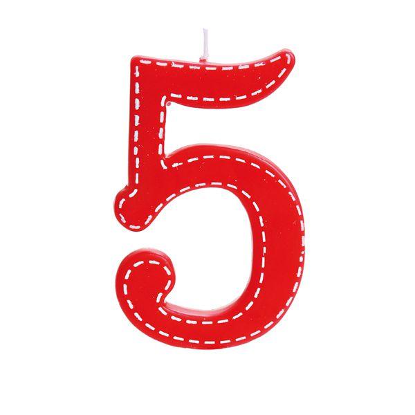 Vela de Aniversário nº5  Tracejada Vermelho G - 01 unidade - Cromus - Rizzo Festas
