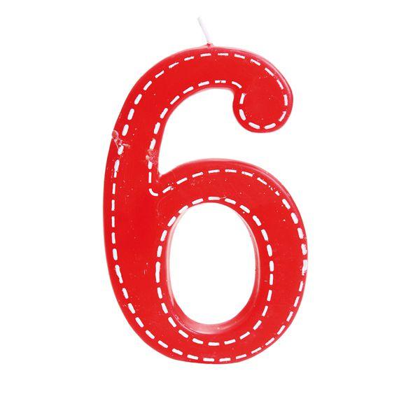 Vela de Aniversário nº6  Tracejada Vermelho G - 01 unidade - Cromus - Rizzo Festas