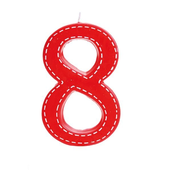 Vela de Aniversário nº8  Tracejada Vermelho G - 01 unidade - Cromus - Rizzo Festas
