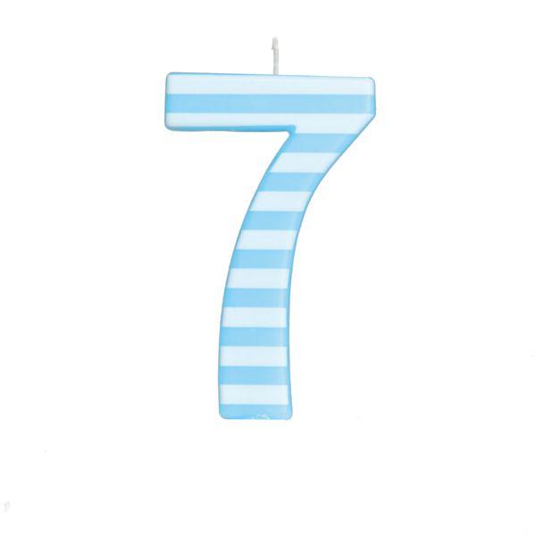 Vela de Aniversário nº7  Listrada Azul G - 01 unidade - Cromus - Rizzo Festas