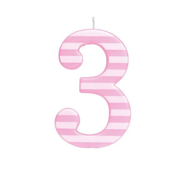 Vela de Aniversário nº3  Listrada Rosa G - 01 unidade - Cromus - Rizzo Festas