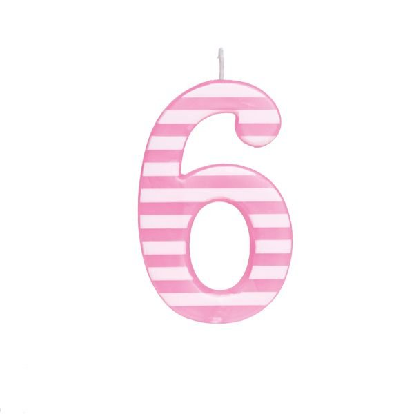 Vela de Aniversário nº6  Listrada Rosa G - 01 unidade - Cromus - Rizzo Festas