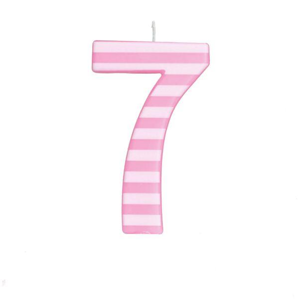 Vela de Aniversário nº7  Listrada Rosa G - 01 unidade - Cromus - Rizzo Festas