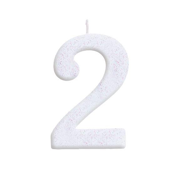 Vela de Aniversário nº2  Branca com Glitter G - 01 unidade - Cromus - Rizzo Festas