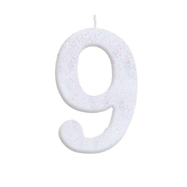 Vela de Aniversário nº9  Branca com Glitter G - 01 unidade - Cromus - Rizzo Festas