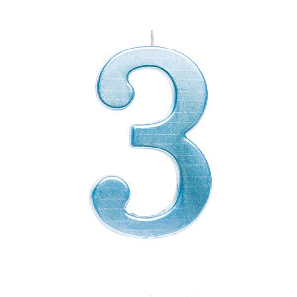 Vela de Aniversário nº3  Metalizado Azul G - 01 unidade - Cromus - Rizzo Festas