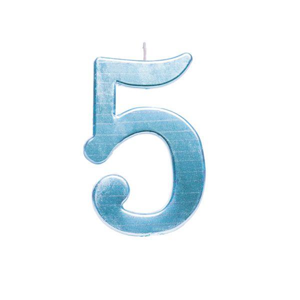 Vela de Aniversário nº5  Metalizado Azul G - 01 unidade - Cromus - Rizzo Festas