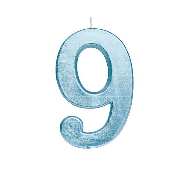 Vela de Aniversário nº9  Metalizado Azul G - 01 unidade - Cromus - Rizzo Festas
