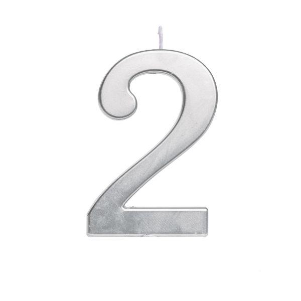 Vela de Aniversário nº2  Metalizado Prata G - 01 unidade - Cromus - Rizzo Festas