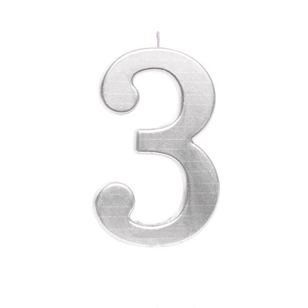 Vela de Aniversário nº3  Metalizado Prata G - 01 unidade - Cromus - Rizzo Festas