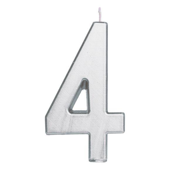 Vela de Aniversário nº4  Metalizado Prata G - 01 unidade - Cromus - Rizzo Festas